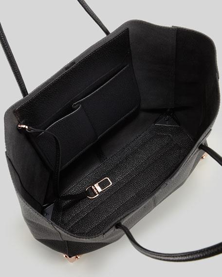 Prisma Leather Tote Bag, Black/Rose Gold