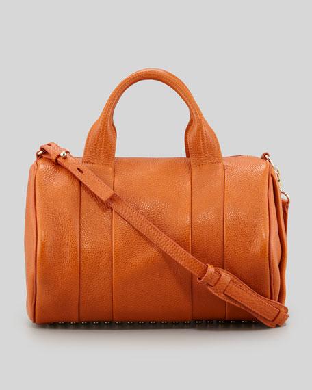 Rocco Stud-Bottom Satchel Bag, Orange/Yellow Golden