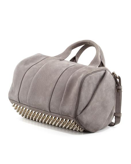Rocco Stud-Bottom Satchel Bag, Gray