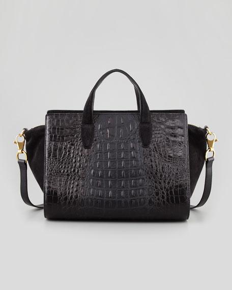 Pelican Gold Crocodile-Embossed Satchel Bag, Black