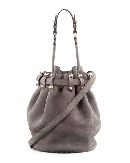 Diego Stud-Bottom Nubuck Bucket Bag, Gray/Pale Gold
