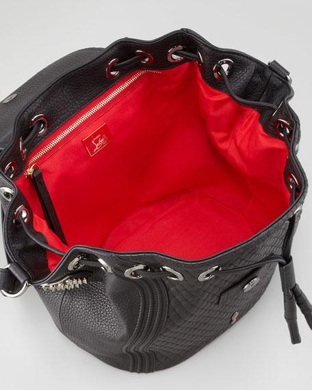 Dompteuse Spiked Backpack Bucket Bag, Black
