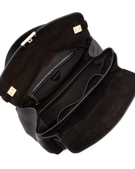 Metropolitan Flap-Top Satchel Bag, Black