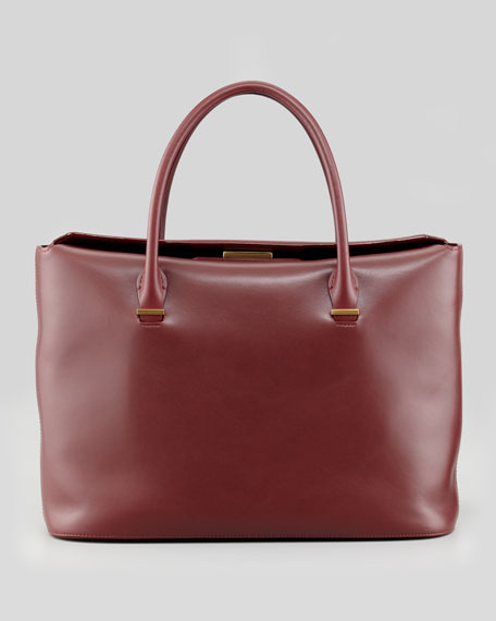 The Carry All Leather Tote Bag, Plum