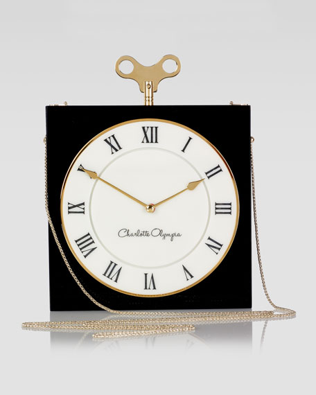 Timepiece Box Clutch Bag, Black