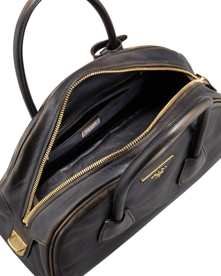 Vintage Vitello Bowler Bag, Black (Nero)