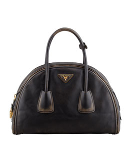 Prada Vintage Vitello Bowler Bag, Black