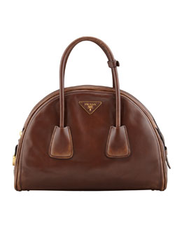 Prada Vintage Vitello Bowler Bag, Brown