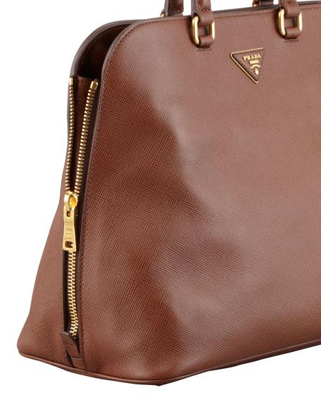 Saffiano Cuir Brevetto Satchel Bag, Brown