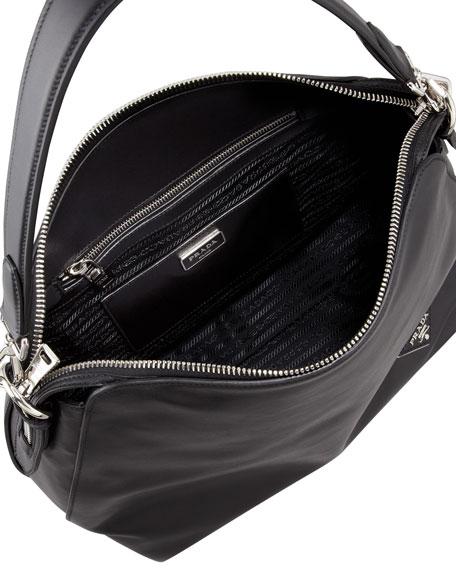 Soft Calf Open Domed Hobo Bag, Black (Nero)