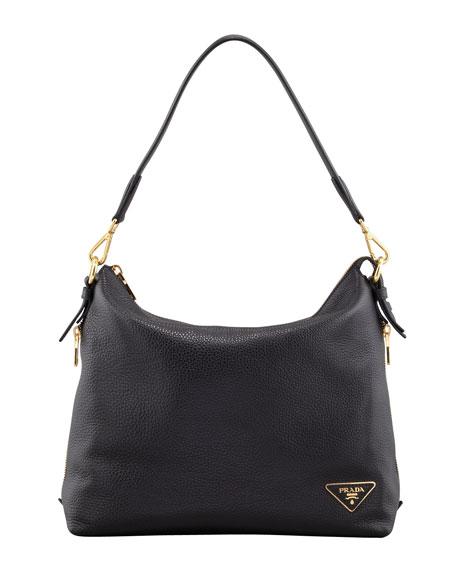 Daino Zip-Top Zip-Side Hobo Bag, Black (Nero)
