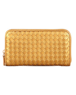 Bottega Veneta Leather & Snake Woven Zip-Around Wallet, Gold