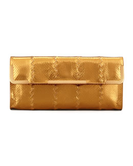 Bottega Veneta Metallic East-West Snake Clutch Bag, Gold