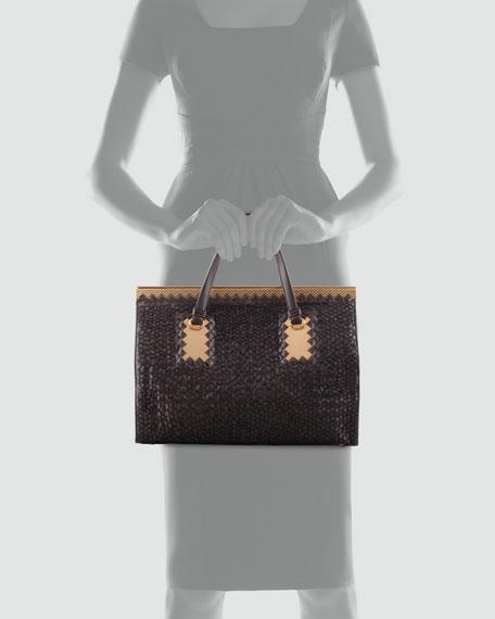 Intrecciato Leather & Woven Yarn Tote Bag, Dark Brown