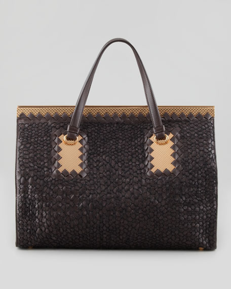 Intrecciato Leather & Woven Yarn Tote Bag, Dark Brown