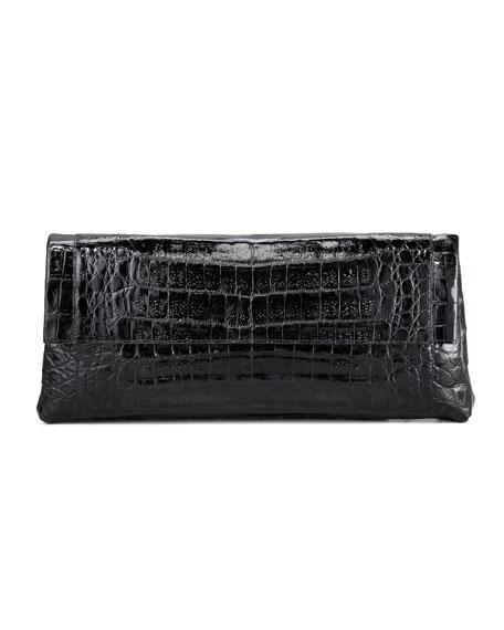 Crocodile Flap-Front Clutch Bag, Black