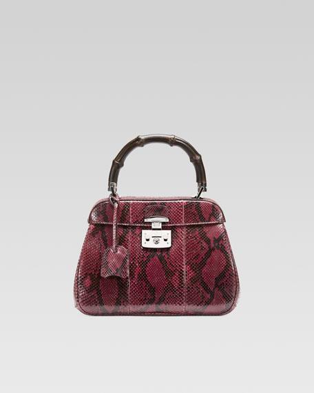 Lady Lock Python Medium Top Handle Bag, Wine