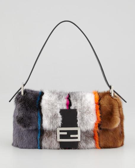 Baguette Striped Mink Fur Bag, Multicolor