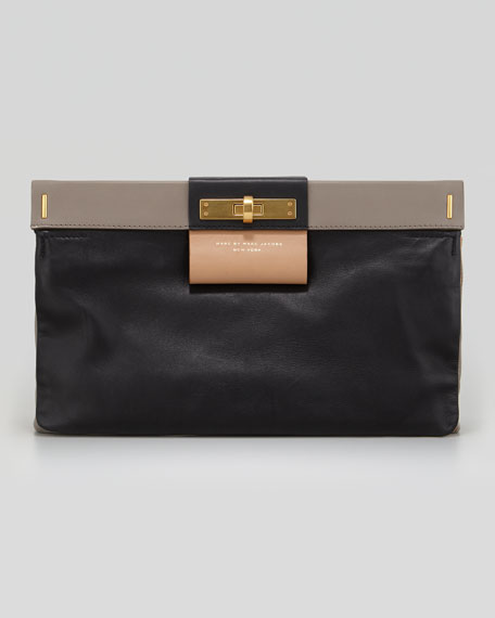 East End Lady Rei Colorblock Turn-Lock Clutch Bag, Black