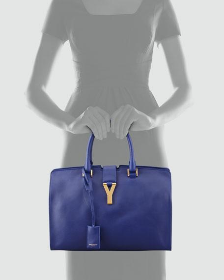 Y-Ligne Cabas Large Leather Carryall Bag, Blue