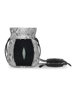 Mignonne Python & Stingray Pouch Bag, Natural/Gray