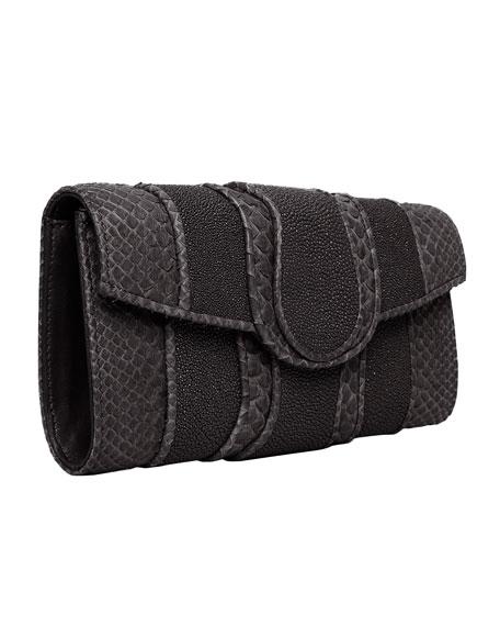 Lindsay Python & Stingray Clutch Bag, Black