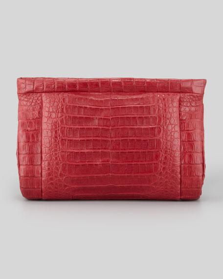 Crocodile Soft Clutch Bag, Red