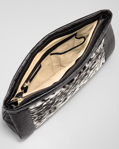 Calf Hair-Center Soft Crocodile Clutch Bag, Black/White