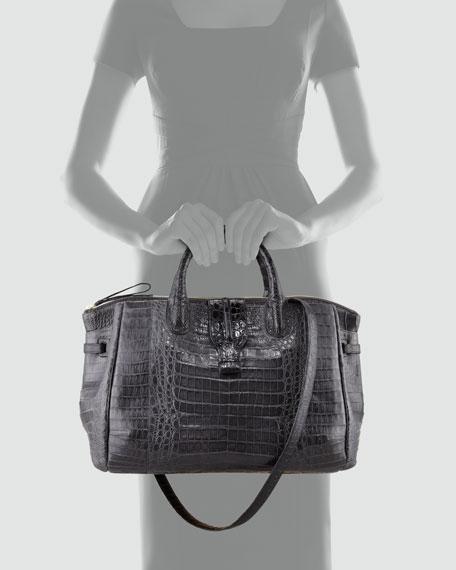 Center-Zip Crocodile Tote Bag, Gray