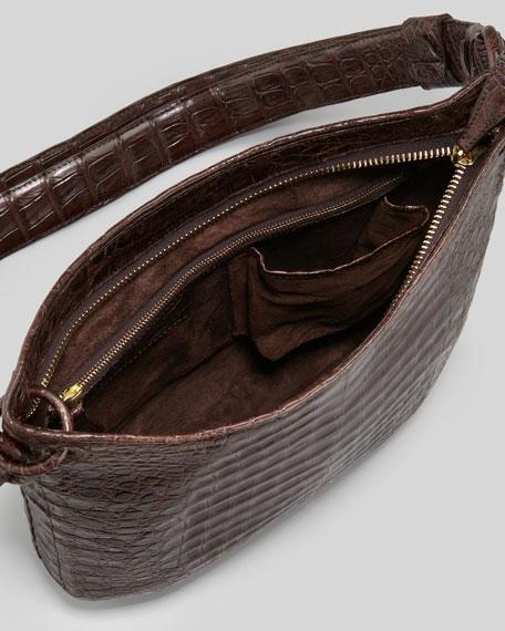 Small Crocodile Crossbody Zip-Top Bag, Brown