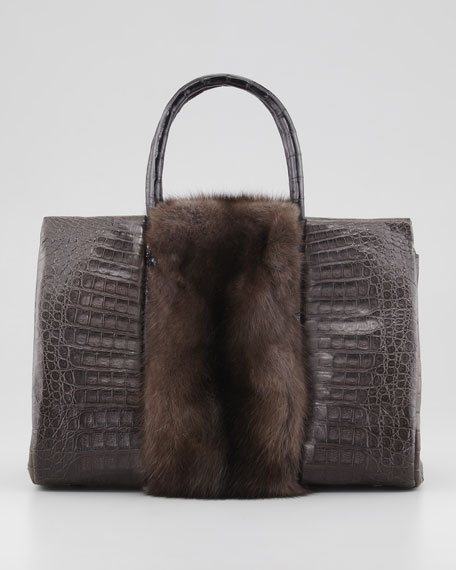 Small Sable Fur-Stripe Crocodile Tote Bag, Brown