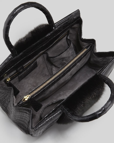 Small Mink Fur-Stripe Crocodile Tote Bag, Black