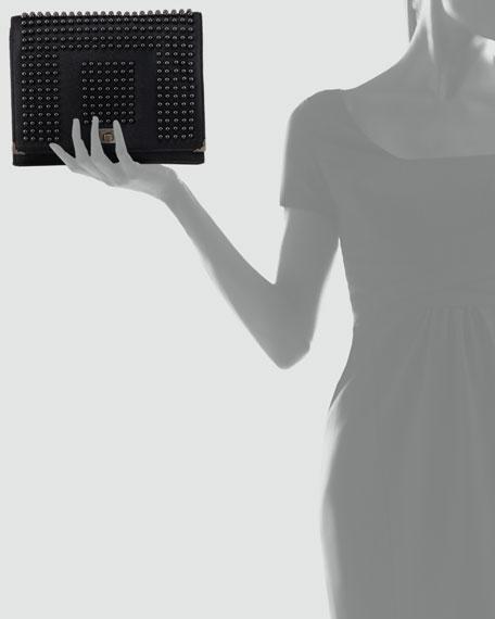Jourdan 2 Studded Wristlet Clutch Bag, Black