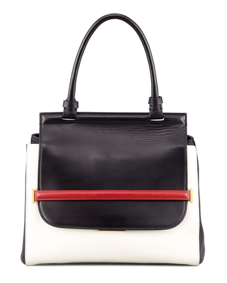 Small Colorblock Top-Handle Satchel, Black/White/Red
