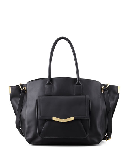 Jo Leather Tote Bag with Pocket, Black