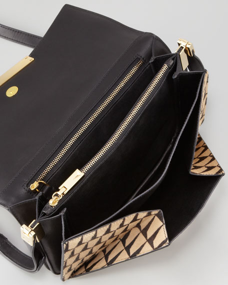Affine Small Calf-Hair Shoulder Bag, Black/Tan