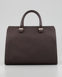 Victoria Beckham The Victoria Soft Leather Satchel Bag, Chocolate