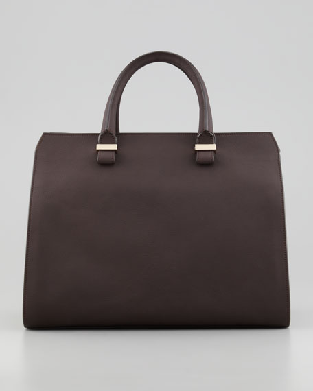 The Victoria Soft Leather Satchel Bag, Chocolate
