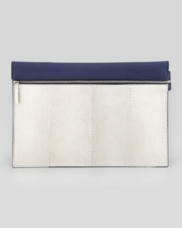 Victoria Beckham Large Snake Zip Clutch Bag, Gray/ Blue