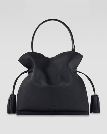 Flamenco 36 Drawstring Leather Bag, Black