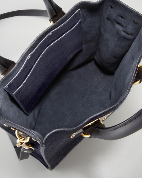 Mini Calf Hair Tote Bag, Navy