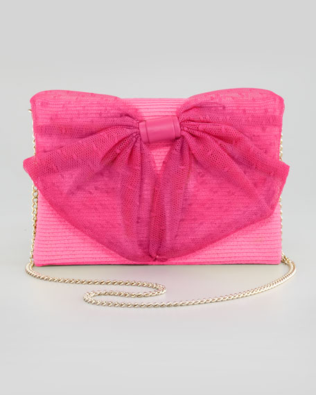 2ae282a4e5b RED Valentino Straw Point d'Esprit Bow Shoulder Bag