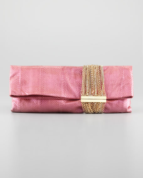 Chandra Chain Snakeskin Clutch Bag, Pink/Purple