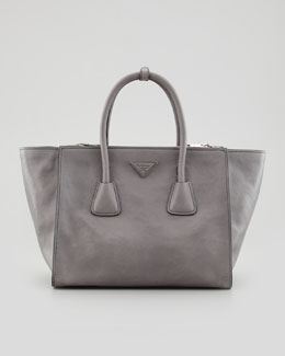 Prada Glace Calf Large Twin Pocket Tote Bag, Gray