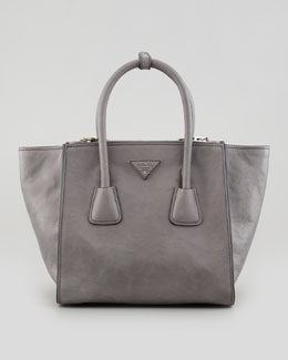 Prada Soft Calf Small Twin Pocket Tote Bag, Gray