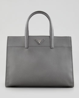 Prada Saffiano Soft Tote Bag, Gray