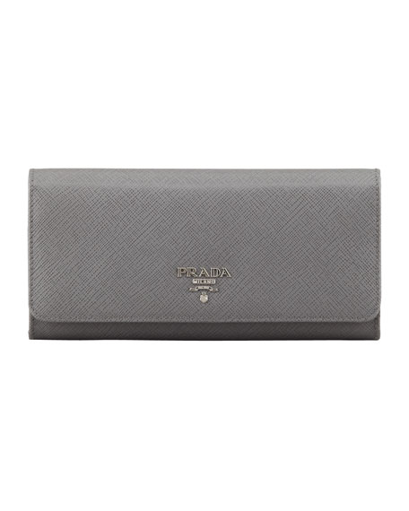 Saffiano Fold-Over Wallet, Gray (Marmo)