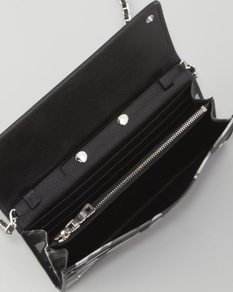 d29e2821996e43 Prada Saffiano Wallet on a Chain, Gray Camo