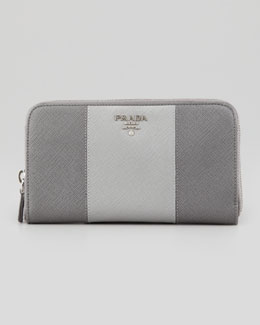 Prada Saffiano Zip-Around Wallet, Gray Multi