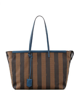 Fendi Pequin-Striped Roll Tote Bag, Brown/Blue
